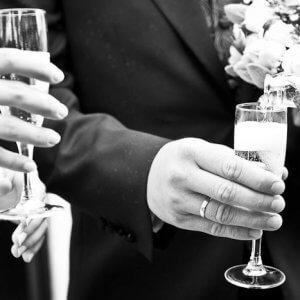 Bryllupsfoto i sort/hvid