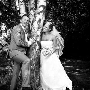 Sort/hvid bryllupsfoto