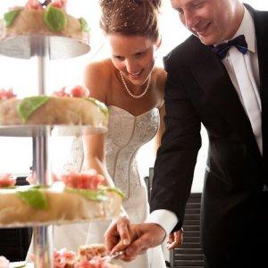 Bryllupsfoto af bryllupskagen