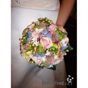 Rokoko brudebuket i Pastel farver 900 kr.