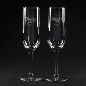 vinglas med gravering